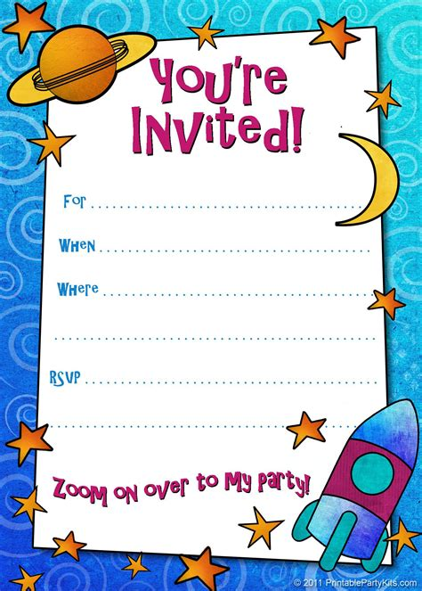 kid card template birthday invitation birthday invitation card template