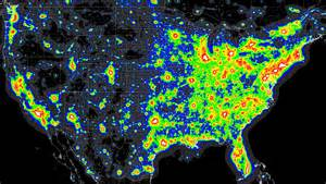 map of lights light pollution map x post from mapporn astronomy