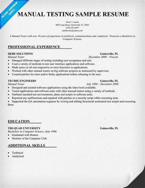 Manual Testing Resume by Resume Exle For Manual Testing Resumecompanion