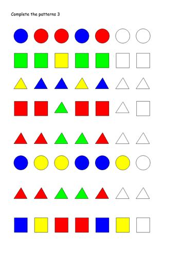 continuing patterns ks1 shape patterns worksheets by mummyhen teaching resources tes