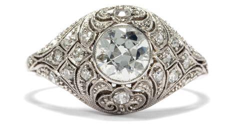Berlian 0 19ct d 233 co um 1925 antiker platin ring mit 1 19 ct