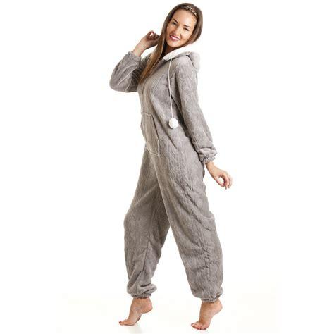 grey pattern onesie new womens ladies luxury supersoft fleece hooded grey all