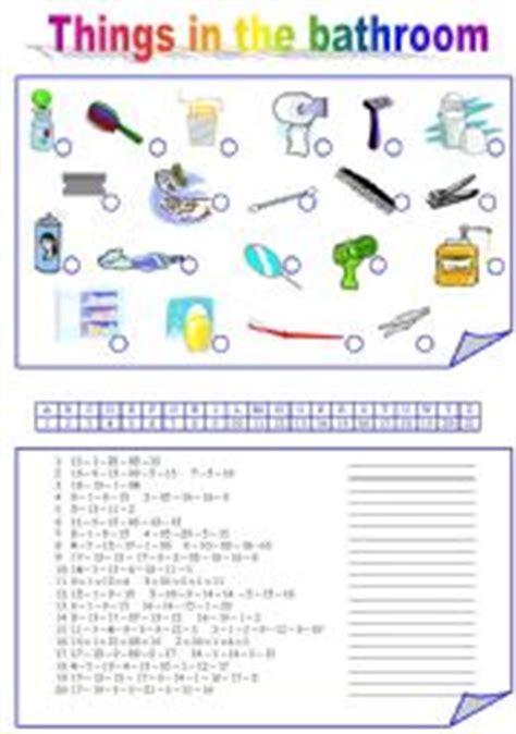 intermediate esl worksheets things in the bathroom