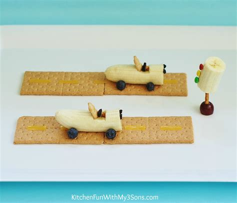 banana race car teddy snack kitchen fun with my 3 sons