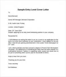 Cover Letter Entry Level Position by Entry Level Cover Letter Templates 9 Free Sles