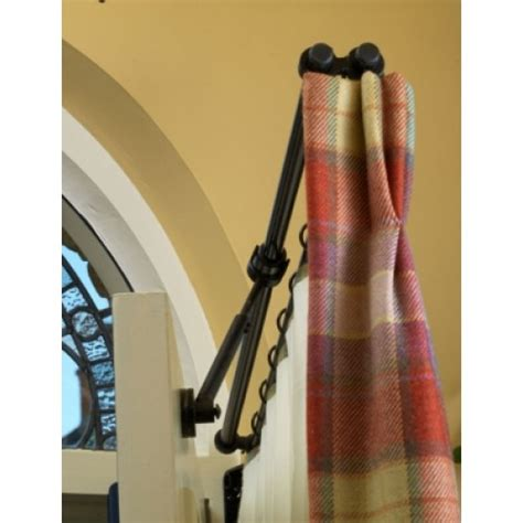 hinged curtain pole for door cosidor rising portiere rod black