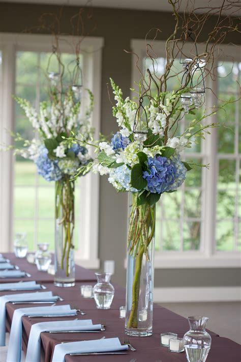 blue and white reception wedding flowers wedding decor