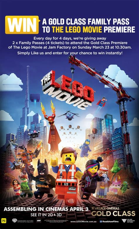 cinema 21 premiere kemang village perbandingan gold class village cinemas win family pass to the lego movie gold