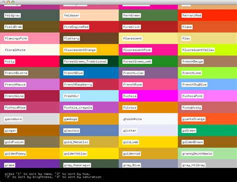 color list 12 types colors chart with names