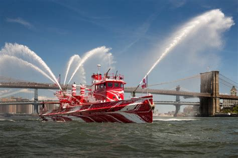 nyc boat show 2018 historic nyc fireboat dons dazzle paint workboat