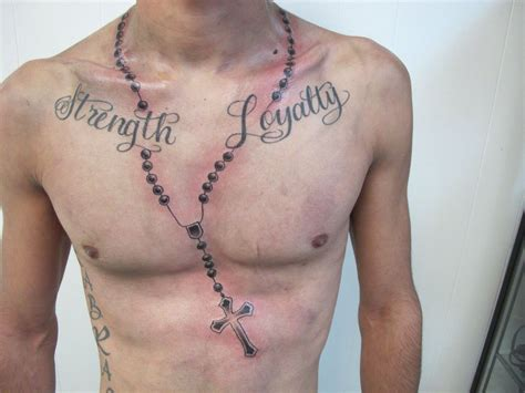 beads tattoo designs rosary chest ink i like tattoos
