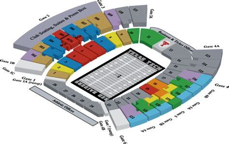 texas tech football seating map ticket office seating charts