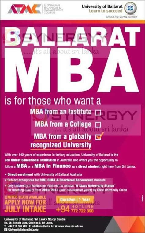 Of Colombo Mba Programme by Ballarat Mba Programme Now In Sri Lanka 171 Synergyy