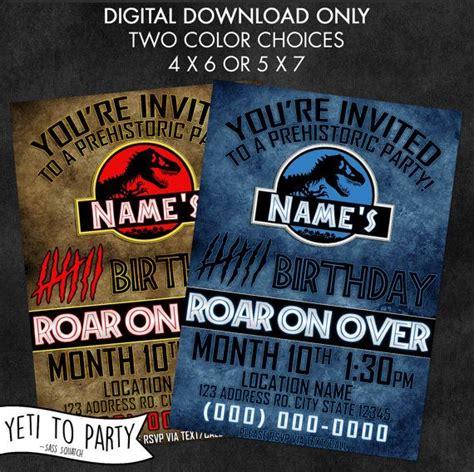 printable jurassic world birthday invitations digital printable birthday invitation dinosaur jurassic