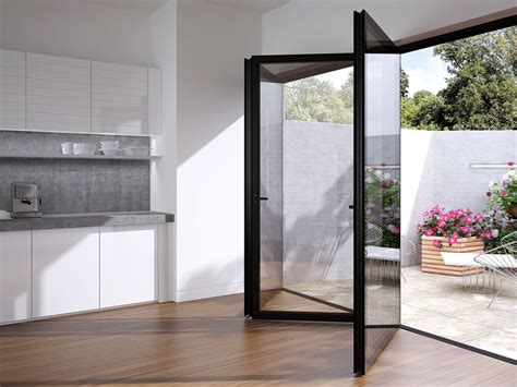 glazed folding patio doors sl75 lumi flushed glazed bifold sliding doors slimline