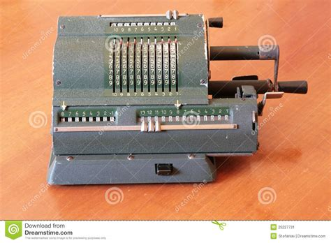 Wooden Computer Desk Ancient Manual Calculator Stock Image Image Of Object