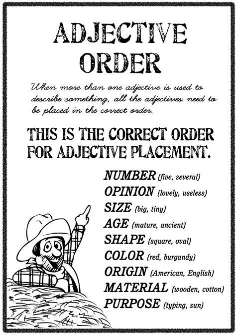 esl order of adjectives worksheet adjective order free worksheets