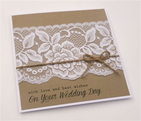 with love and best wishes   Wedding Card   Lace burlap