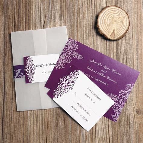 cheap purple wedding invitations purple vintage damask printed cheap pocket wedding