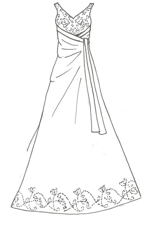 white dress coloring page a line wedding dress by kiknessa on deviantart