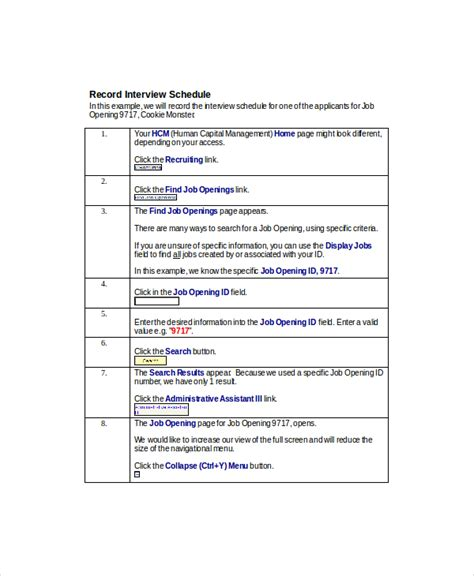 research interview schedule template