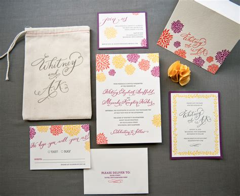 Wedding Invitation Suite by A K S Colorful Letterpress Wedding Invitations