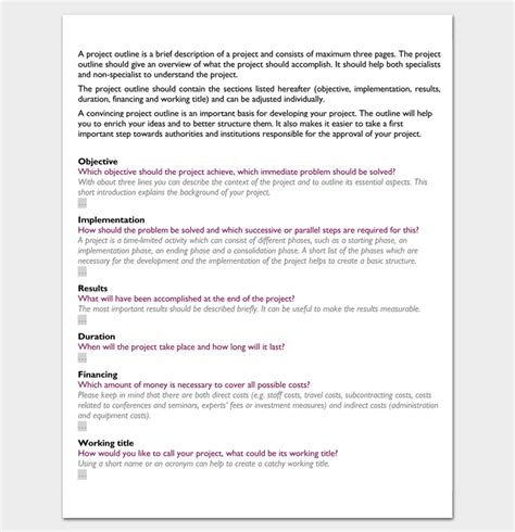 project outline template project outline template 17 for word ppt excel and