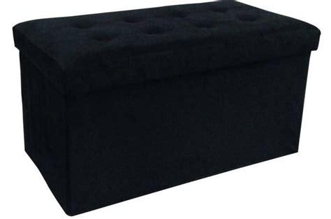 pouf coffre rectangulaire pliant noir design en