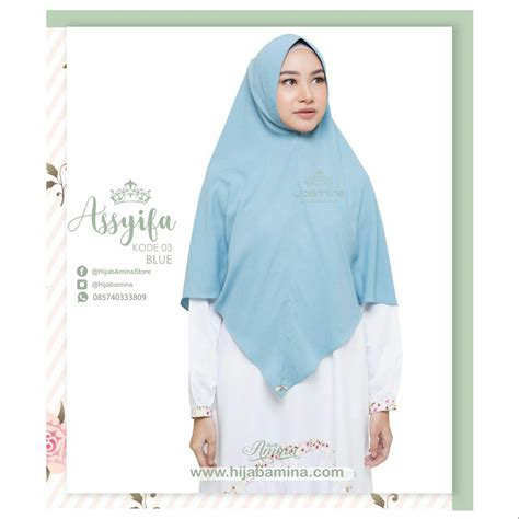 Assyifa Dress Khimar By Uwais khimar assyifa kode 03 blue amina 2
