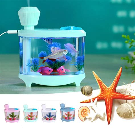 Small Fish Humidifier Usb Charging With Color Led L Humidifier 18 fish tank led light air humidifier mini usb essential aroma diffuser home office aquarium