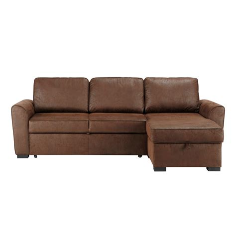 Brown Corner Sofa Bed 3 4 Seater Distressed Imitation Suede Corner Sofa Bed In Brown Montr 233 Al Maisons Du Monde