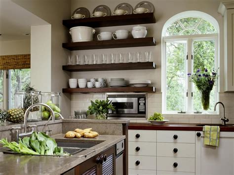 white country style kitchen with open shelving hgtv