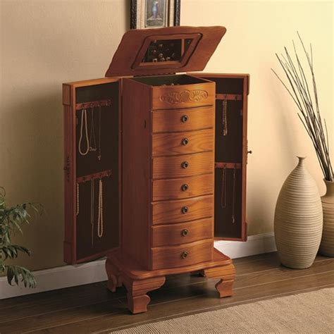 jewelry armoire wood coaster 4014 brown wood jewelry armoire steal a sofa