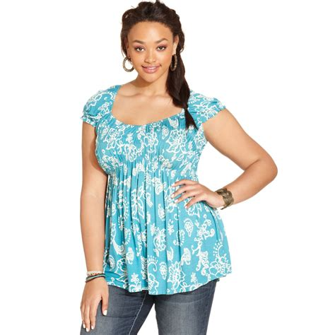Babydoll Top american rag plus size sleeve floral print babydoll top in multicolor pagoda blue combo