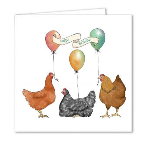 Chicken Birthday Card Birthday Balloons Yellow Chicken House