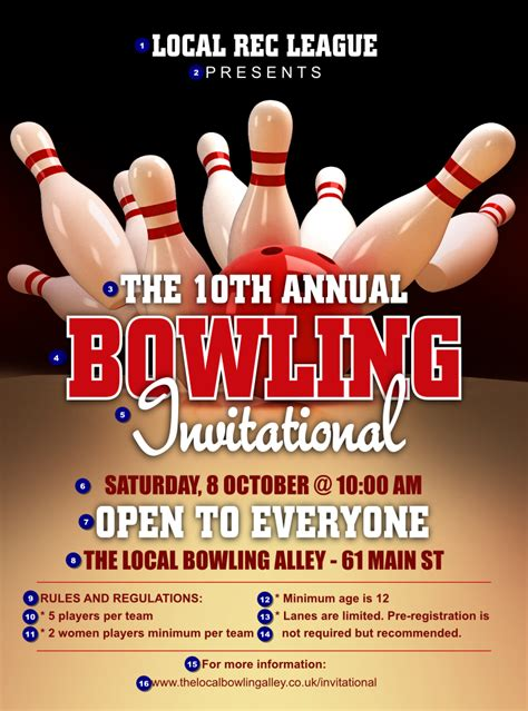 bowling flyer template bowling league flyer ticket printing