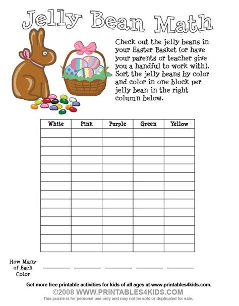 printable math easter worksheets easter jelly bean math printables for kids free word