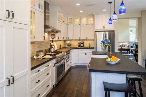 Black And White Kitchen Cabinet Designs by Traditional Kitchen With Flat Panel Cabinets By Remodel