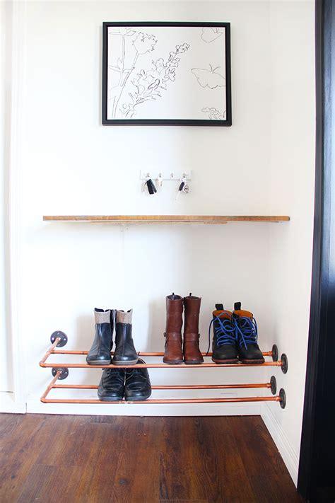 hometalk organizing   copper shoe rack
