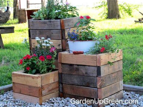 Wooden Garden Planters Ideas Garden Up Green Diy Reclaimed Wood Planter Boxes Lawn