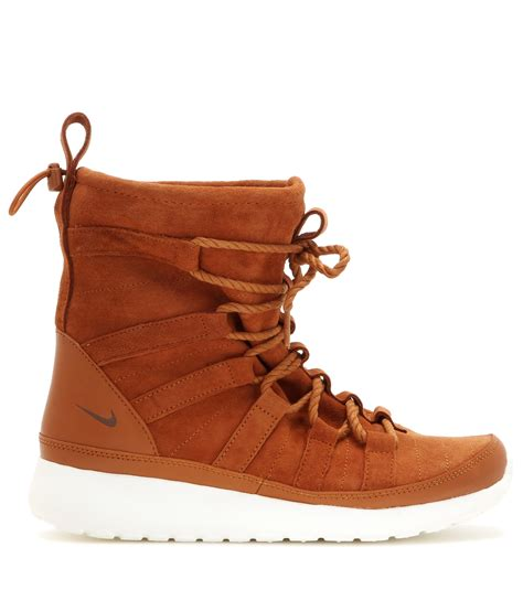 nike womans boots nike roshe one hi suede sneaker boots in brown lyst