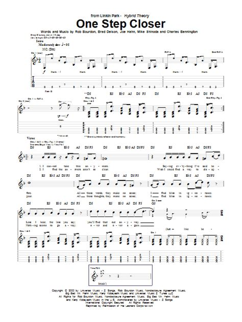 download mp3 song one step closer by linkin park linkin park one step closer sheet music at stanton s