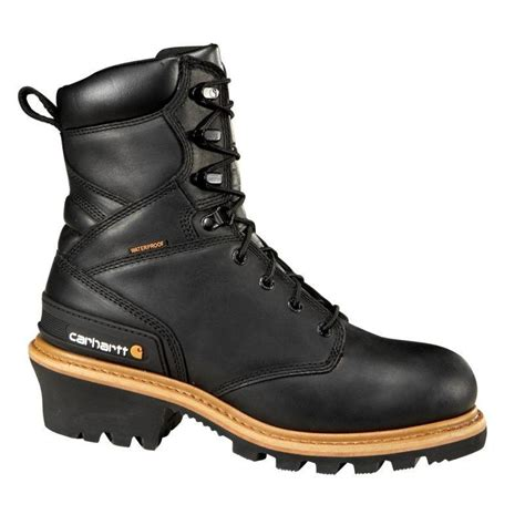 mens carhartt boots carhartt mens 8in black waterproof logger safety toe