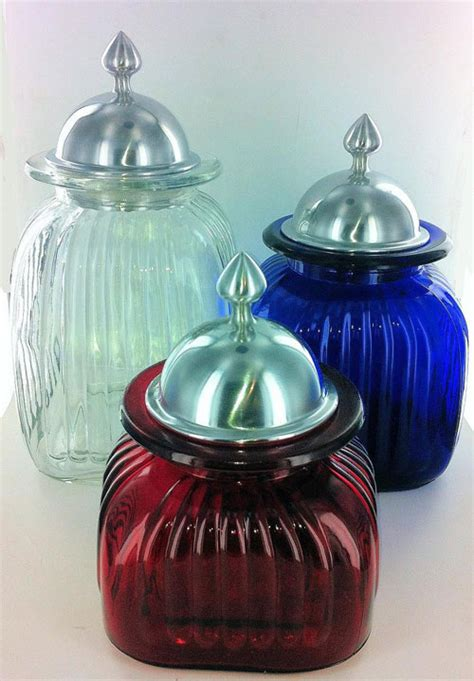 colored glass kitchen canisters decorative kitchen canisters and jars