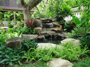 Living Room Feature Wall Designs - tropical thailand waterfall garden tropical landscape