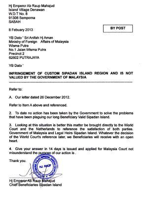 Guarantee Letter Kerajaan Hrmis malaysians must the isu sipadan sudah pasti ke icj