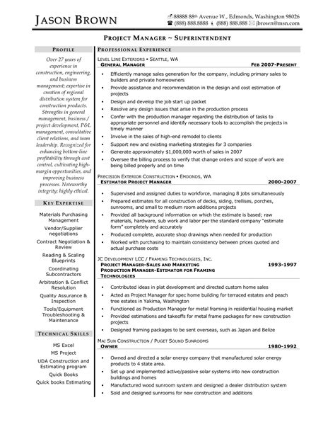Resume Sle Construction Manager construction project manager resume sle 28 images