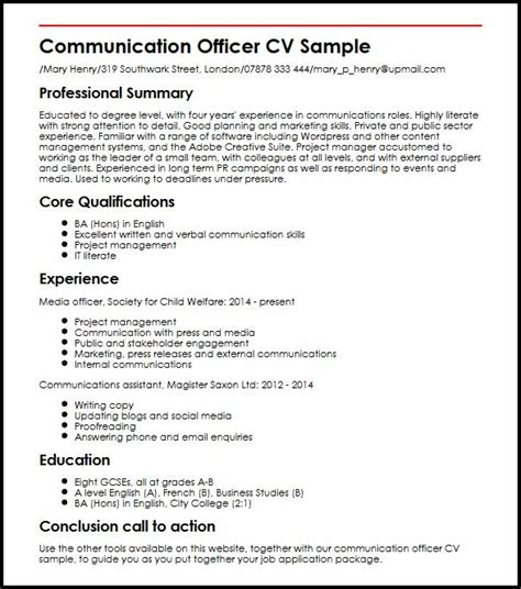 Communication Resume by Communication Officer Cv Sle Myperfectcv