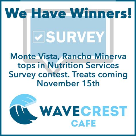 Menu For Winners Announced by We Winners Survey Contest Winners Announced