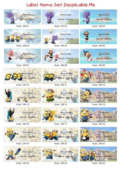 Grosir Label Stiker Nama Anak Seri Hello jual grosir label stiker nama anak seri minion despicable me 2 sprint shop